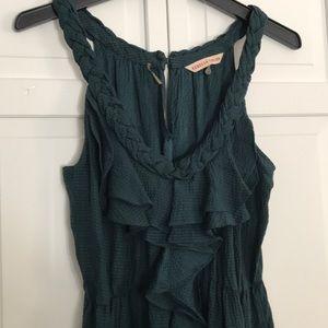 Rebecca Taylor green silk ruffle dress size 2
